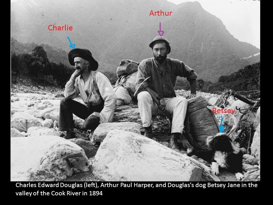 Charles Edward Douglas (left), Arthur Paul Harper, and Douglas s dog Betsey Jane in the valley of the Cook River in 1894