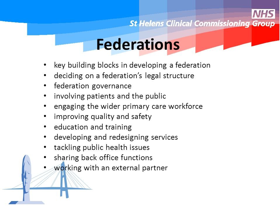 Federations key building blocks in developing a federation deciding on a federation's legal structure federation governance involving patients and the public engaging the wider primary care workforce improving quality and safety education and training developing and redesigning services tackling public health issues sharing back office functions working with an external partner