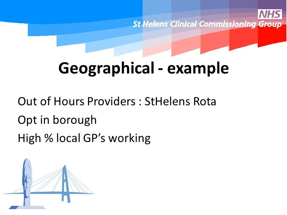 Geographical - example Out of Hours Providers : StHelens Rota Opt in borough High % local GP's working