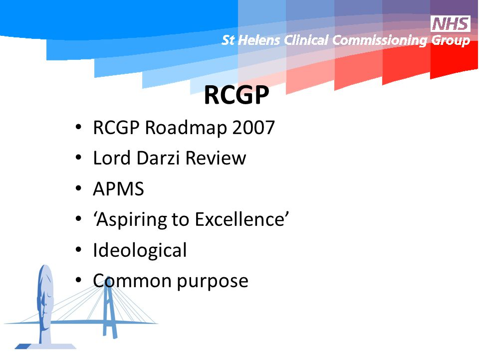 RCGP RCGP Roadmap 2007 Lord Darzi Review APMS 'Aspiring to Excellence' Ideological Common purpose