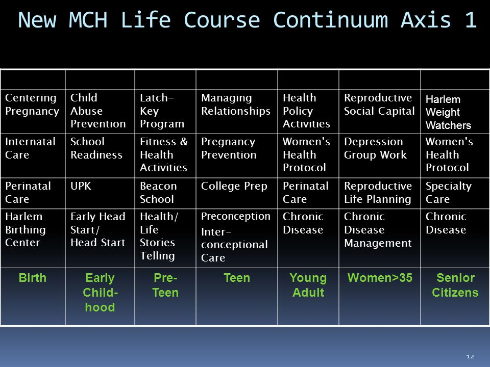 12 New MCH Life Course Continuum Axis 1 Centering Pregnancy Child Abuse Prevention Latch- Key Program Managing Relationships Health Policy Activities Reproductive Social Capital Harlem Weight Watchers Internatal Care School Readiness Fitness & Health Activities Pregnancy Prevention Women's Health Protocol Depression Group Work Women's Health Protocol Perinatal Care UPKBeacon School College PrepPerinatal Care Reproductive Life Planning Specialty Care Harlem Birthing Center Early Head Start/ Head Start Health/ Life Stories Telling Preconception Inter- conceptional Care Chronic Disease Chronic Disease Management Chronic Disease BirthEarly Child- hood Pre- Teen TeenYoung Adult Women>35Senior Citizens