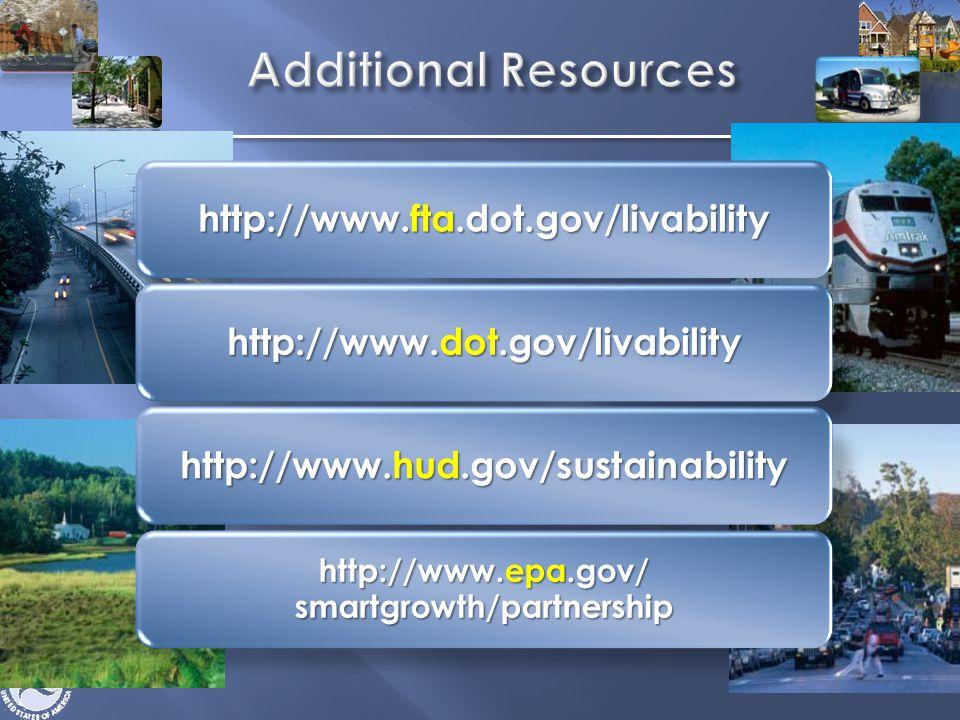 http://www.fta.dot.gov/livability http://www.dot.gov/livability http://www.hud.gov/sustainability http://www.epa.gov/ smartgrowth/partnership