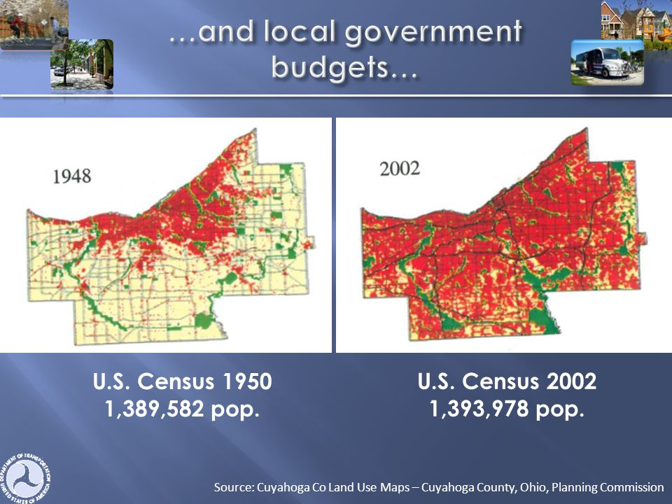 U.S. Census 2002 1,393,978 pop. Source: Cuyahoga Co Land Use Maps – Cuyahoga County, Ohio, Planning Commission U.S. Census 1950 1,389,582 pop.