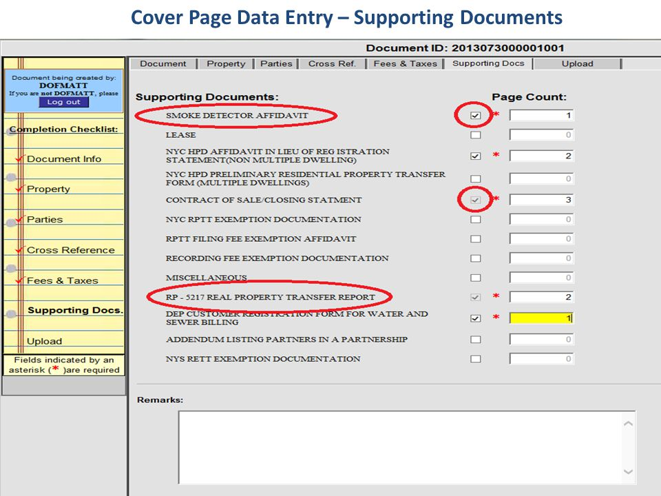 Cover Page Data Entry – Supporting Documents
