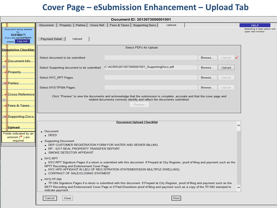 Cover Page – eSubmission Enhancement – Upload Tab