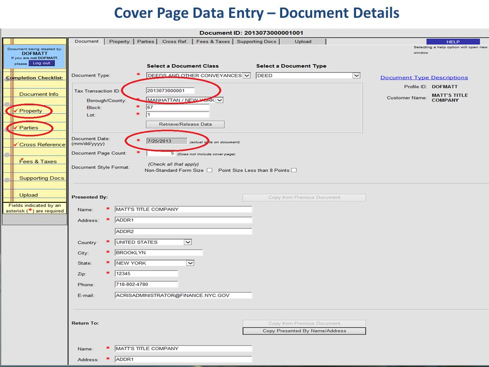 Cover Page Data Entry – Document Details