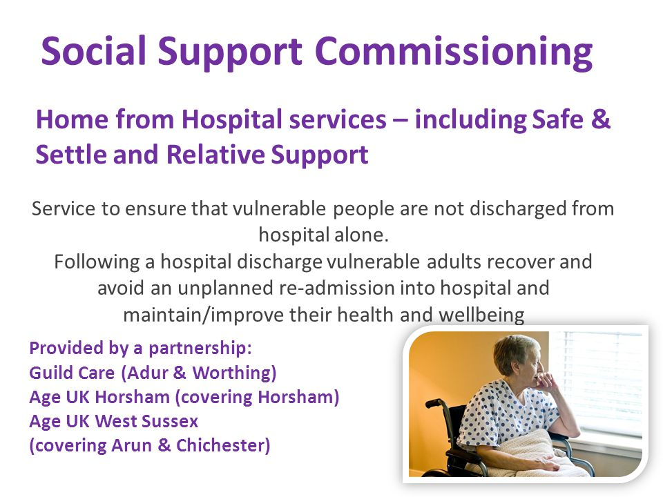 Social Support Commissioning Home from Hospital services – including Safe & Settle and Relative Support Service to ensure that vulnerable people are n