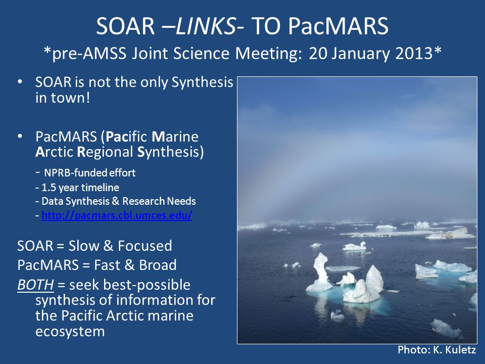 SOAR –LINKS- TO PacMARS *pre-AMSS Joint Science Meeting: 20 January 2013* SOAR is not the only Synthesis in town.