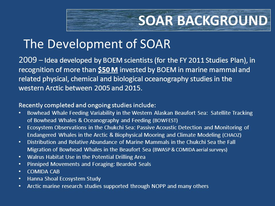 The Development of SOAR SOAR BACKGROUND 2009 – Idea developed by BOEM scientists (for the FY 2011 Studies Plan), in recognition of more than $50 M invested by BOEM in marine mammal and related physical, chemical and biological oceanography studies in the western Arctic between 2005 and 2015.