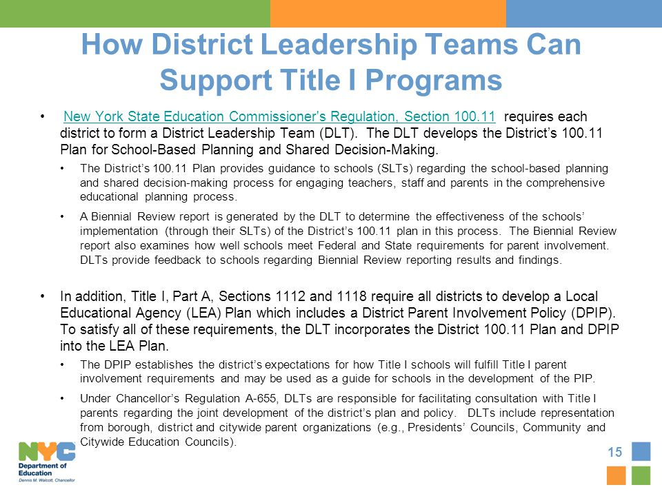 How District Leadership Teams Can Support Title I Programs New York State Education Commissioner's Regulation, Section 100.11 requires each district t