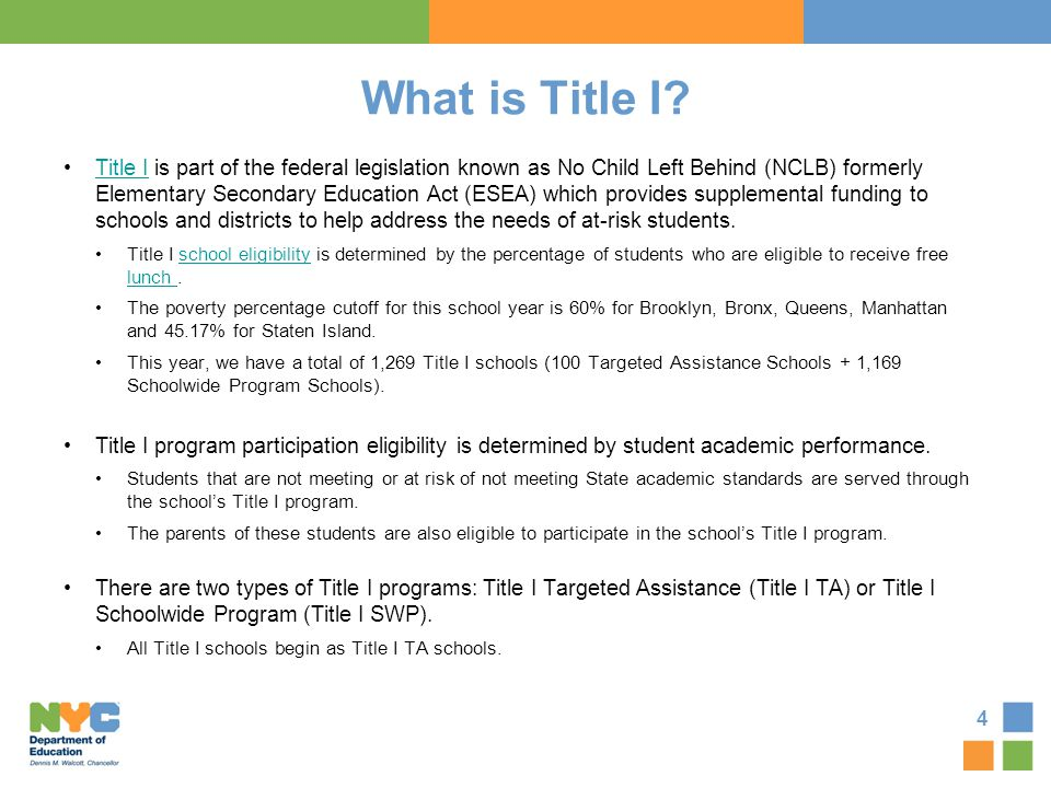Title I Targeted Assistance or Title I Schoolwide Program Schools In a Title I TA school, Title I funds are targeted to provide support to eligible students.