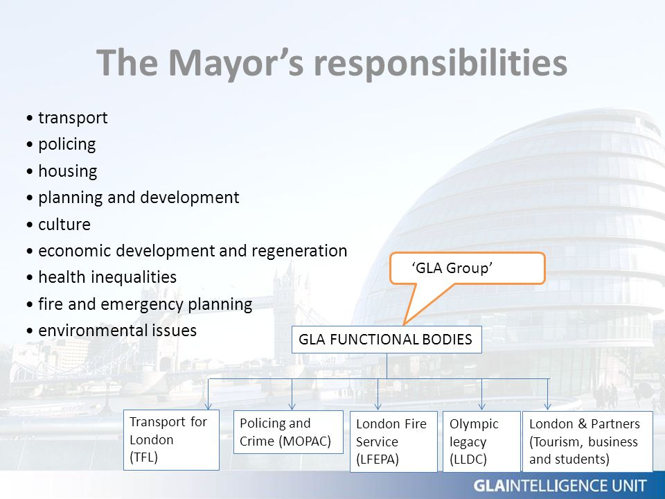 The Mayor's responsibilities transport policing housing planning and development culture economic development and regeneration health inequalities fir