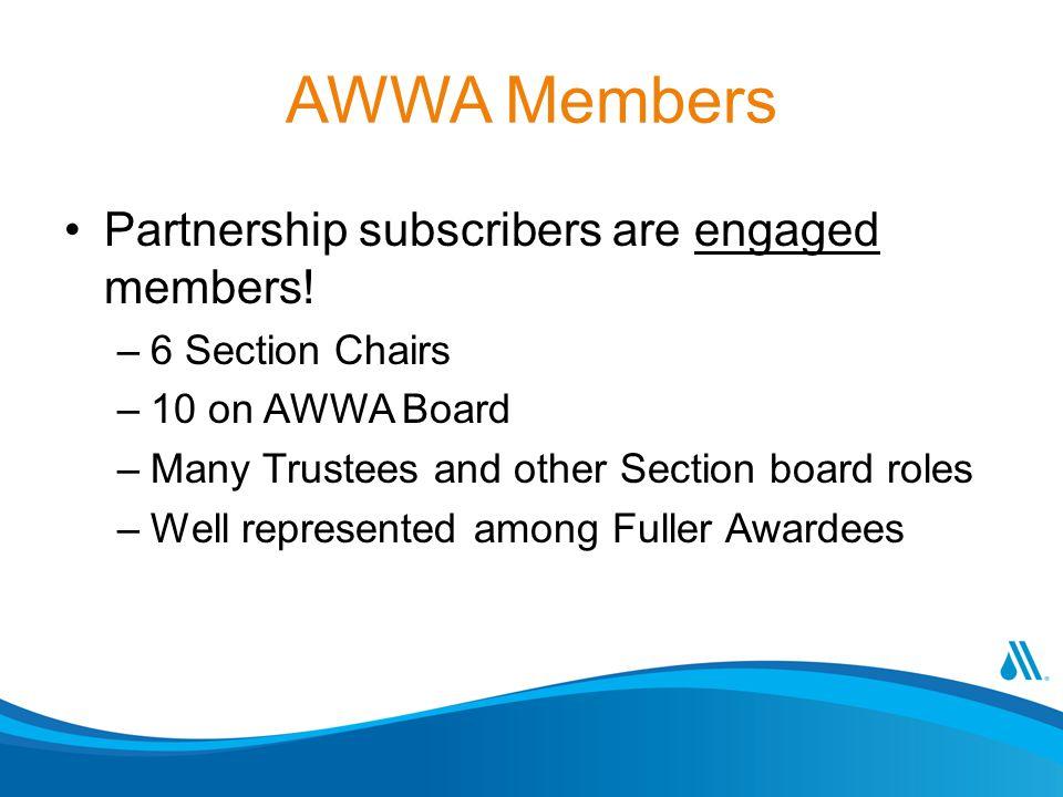 AWWA Members Partnership subscribers are engaged members.