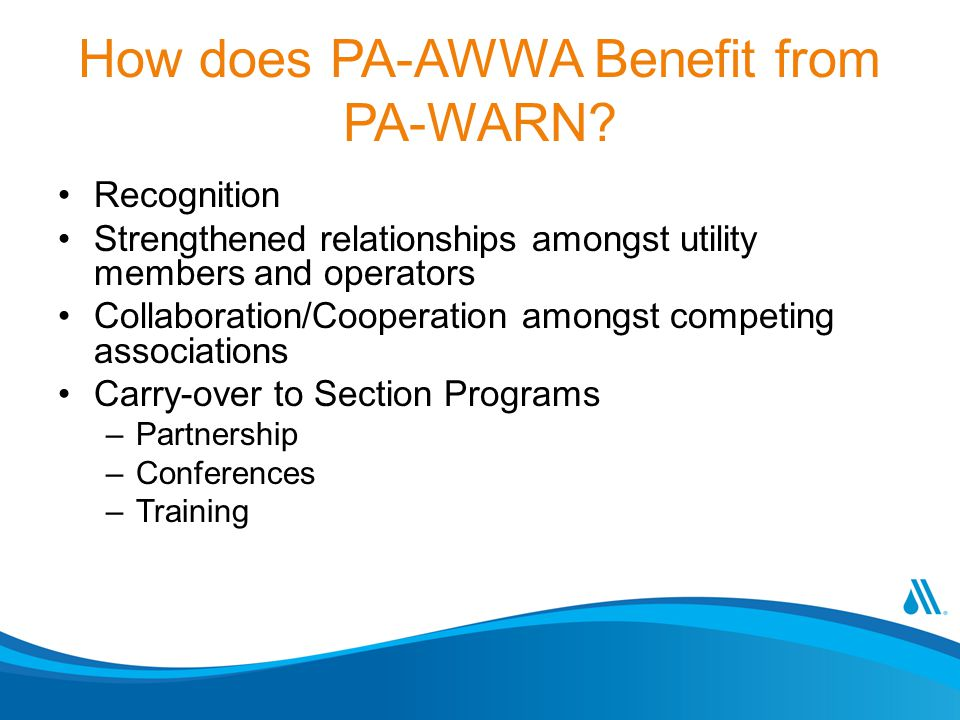 How does PA-AWWA Benefit from PA-WARN.