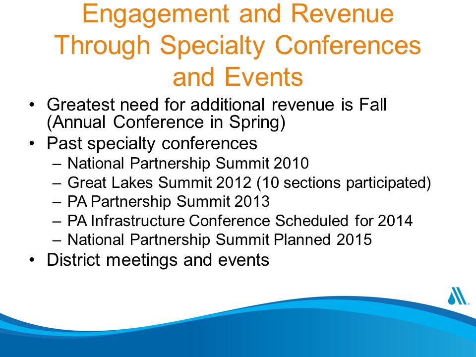 Engagement and Revenue Through Specialty Conferences and Events Greatest need for additional revenue is Fall (Annual Conference in Spring) Past specialty conferences –National Partnership Summit 2010 –Great Lakes Summit 2012 (10 sections participated) –PA Partnership Summit 2013 –PA Infrastructure Conference Scheduled for 2014 –National Partnership Summit Planned 2015 District meetings and events
