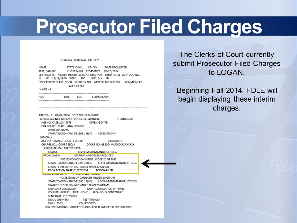 Prosecutor Filed Charges The Clerks of Court currently submit Prosecutor Filed Charges to LOGAN. Beginning Fall 2014, FDLE will begin displaying these