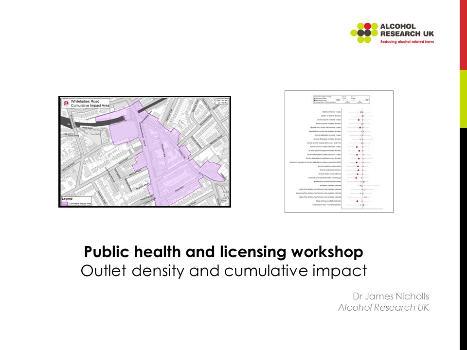 Outlet density and health: the evidence Theall et al., 2009: 'Our findings support the notion that alcohol outlets are likely to play a significant role in health outcomes at neighborhood level, irrespective of individual consumption patterns' Livingston (2011): 10% increase in the number of off-licenses would increase hospital admissions by 1.9% (on-licenses = 0.5%) 'There was a strong positive association between [off-license] density and rates of alcohol-caused chronic disease.'