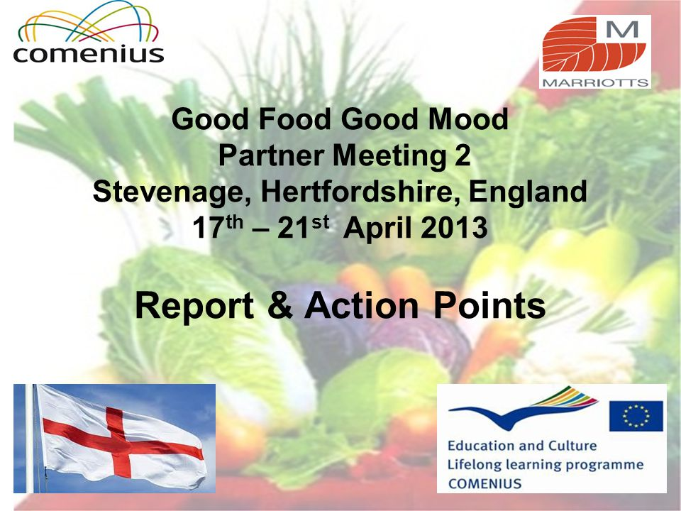 Good Food Good Mood Partner Meeting 2 Stevenage, Hertfordshire, England 17 th – 21 st April 2013 Report & Action Points