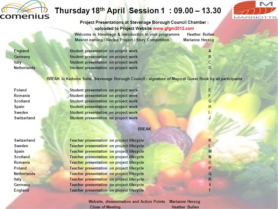 Thursday 18 th April Session 1 : 09.00 – 13.30 Project Presentations at Stevenage Borough Council Chamber : uploaded to Project Website www.gfgm2012.c