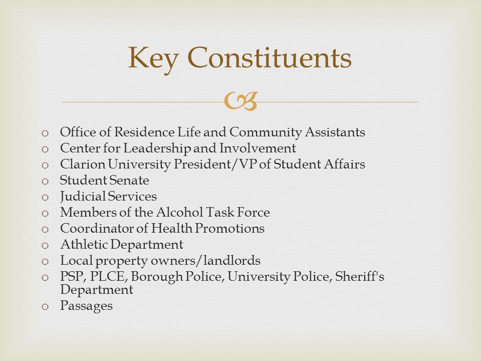  Key Constituents o Office of Residence Life and Community Assistants o Center for Leadership and Involvement o Clarion University President/VP of Student Affairs o Student Senate o Judicial Services o Members of the Alcohol Task Force o Coordinator of Health Promotions o Athletic Department o Local property owners/landlords o PSP, PLCE, Borough Police, University Police, Sheriff s Department o Passages