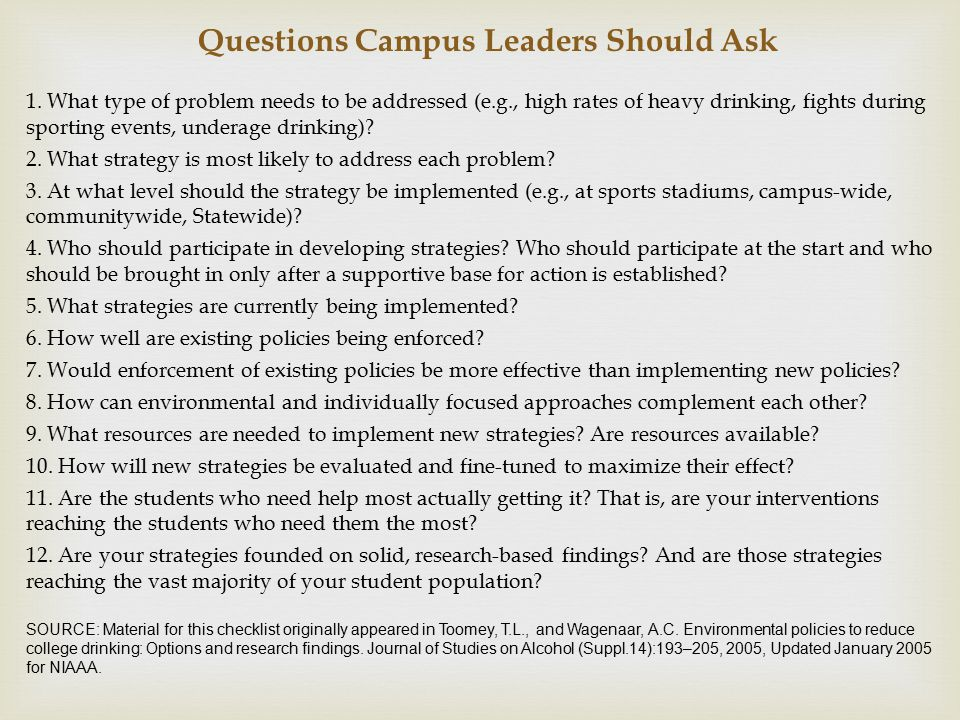 Questions Campus Leaders Should Ask 1.