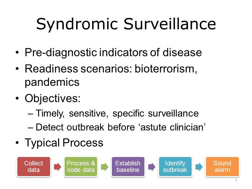 Syndromic Surveillance Pre-diagnostic indicators of disease Readiness scenarios: bioterrorism, pandemics Objectives: –Timely, sensitive, specific surv