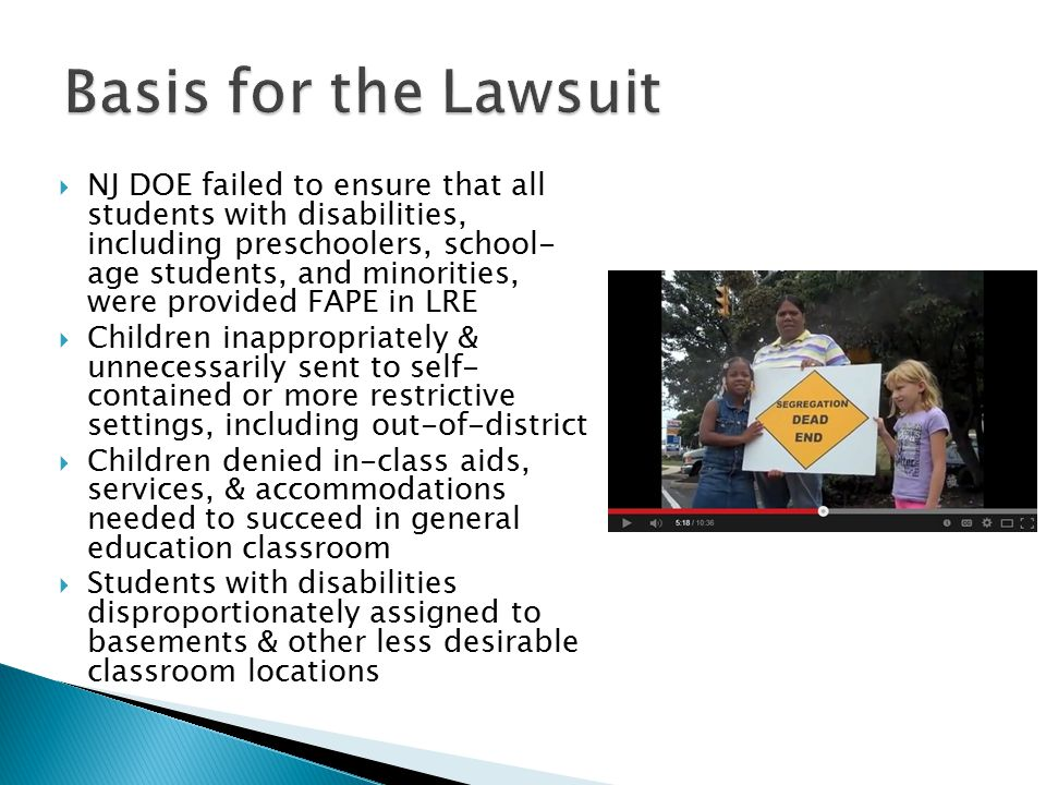  NJ DOE failed to ensure that all students with disabilities, including preschoolers, school- age students, and minorities, were provided FAPE in LRE