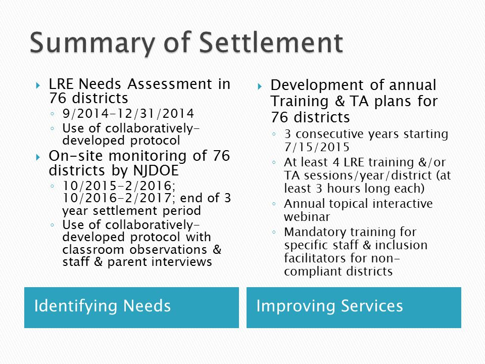 Identifying NeedsImproving Services  LRE Needs Assessment in 76 districts ◦ 9/2014-12/31/2014 ◦ Use of collaboratively- developed protocol  On-site