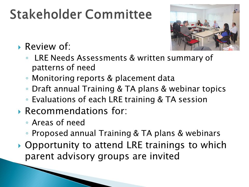  Review of: ◦ LRE Needs Assessments & written summary of patterns of need ◦ Monitoring reports & placement data ◦ Draft annual Training & TA plans &