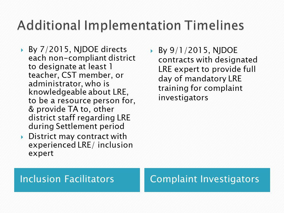 Inclusion FacilitatorsComplaint Investigators  By 7/2015, NJDOE directs each non-compliant district to designate at least 1 teacher, CST member, or a