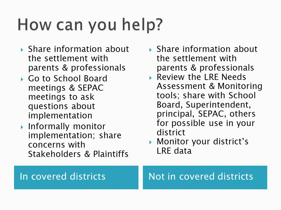 In covered districts  Share information about the settlement with parents & professionals  Go to School Board meetings & SEPAC meetings to ask quest