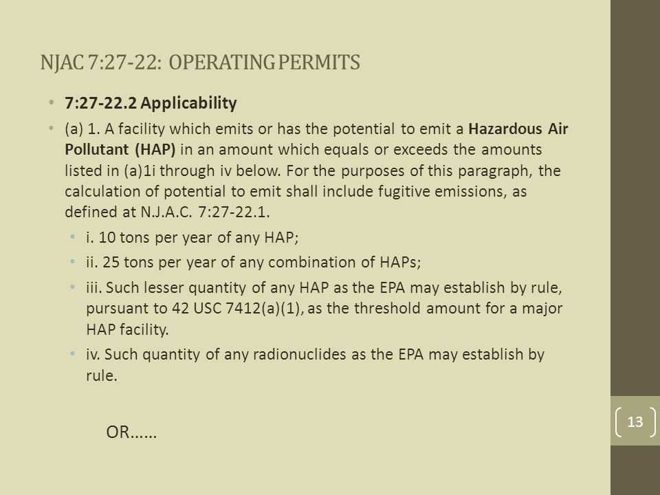 NJAC 7:27-22: OPERATING PERMITS 7:27-22.2 Applicability (a) 1.