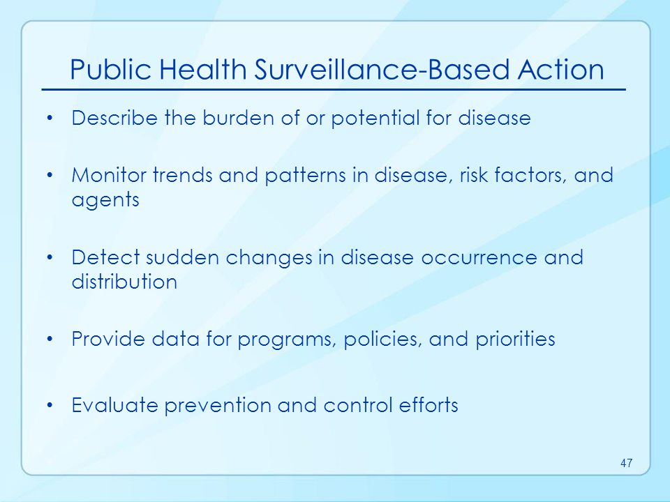 Foege WH, Hogan RC, Newton LH.Surveillance projects for selected diseases.
