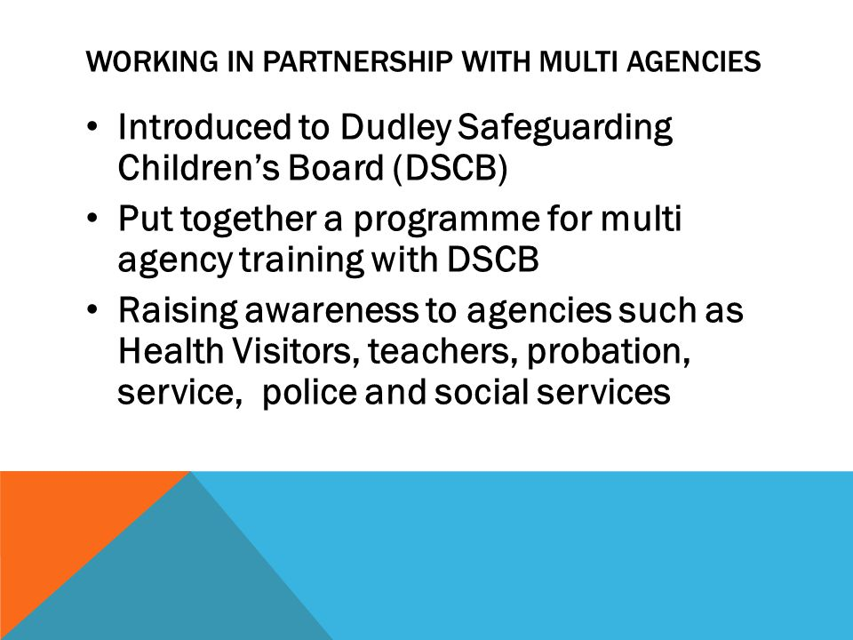 WORKING IN PARTNERSHIP WITH MULTI AGENCIES Introduced to Dudley Safeguarding Children's Board (DSCB) Put together a programme for multi agency training with DSCB Raising awareness to agencies such as Health Visitors, teachers, probation, service, police and social services