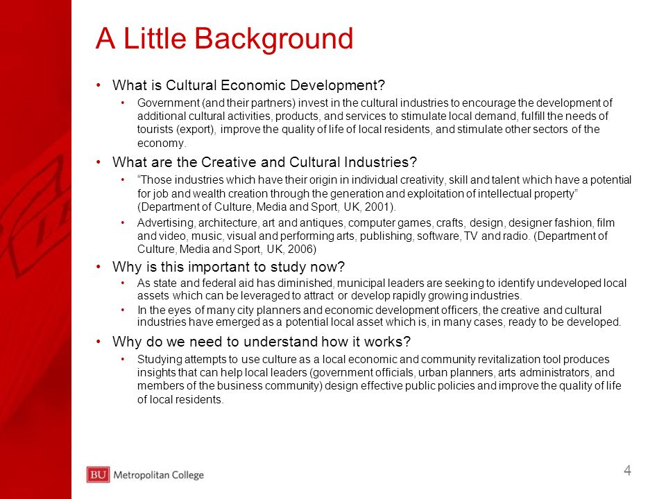4 What is Cultural Economic Development.