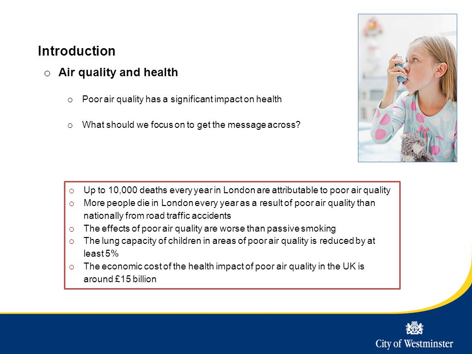 Introduction o Air quality and health o Poor air quality has a significant impact on health o What should we focus on to get the message across? o Up