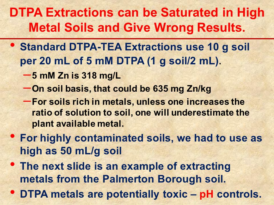 DTPA Extractions can be Saturated in High Metal Soils and Give Wrong Results. Standard DTPA-TEA Extractions use 10 g soil per 20 mL of 5 mM DTPA (1 g