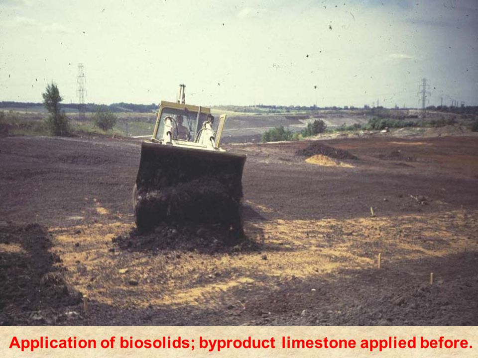 Application of biosolids; byproduct limestone applied before.