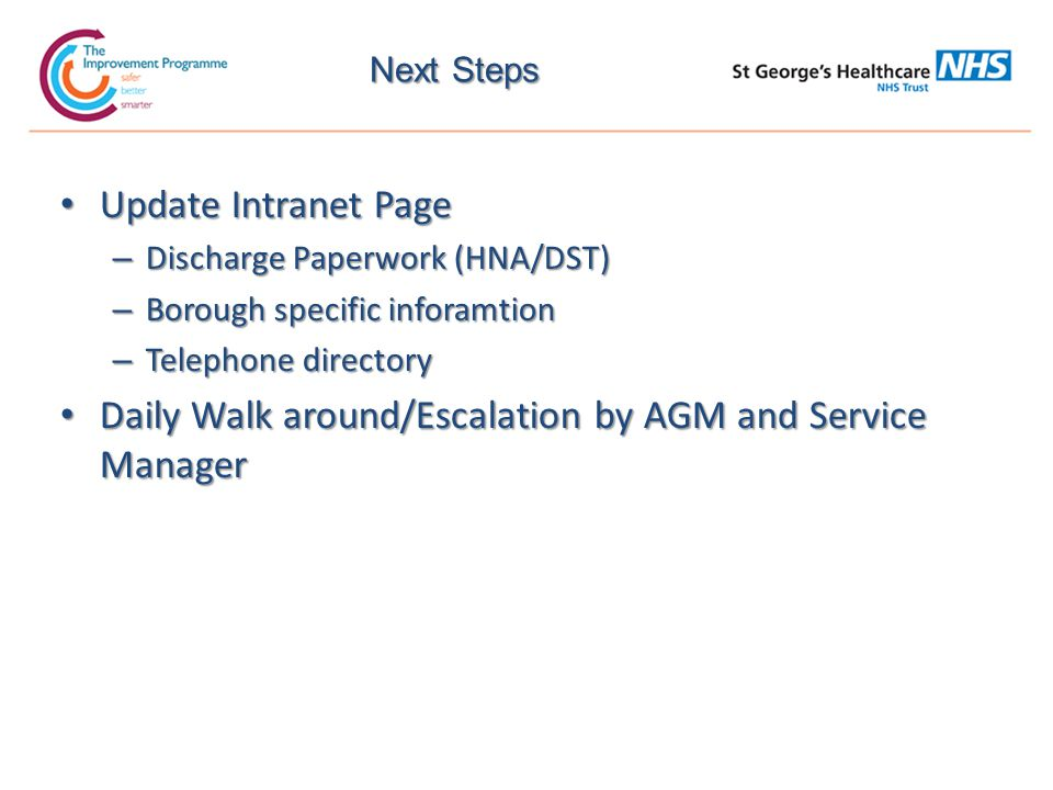 Next Steps Update Intranet Page Update Intranet Page – Discharge Paperwork (HNA/DST) – Borough specific inforamtion – Telephone directory Daily Walk around/Escalation by AGM and Service Manager Daily Walk around/Escalation by AGM and Service Manager