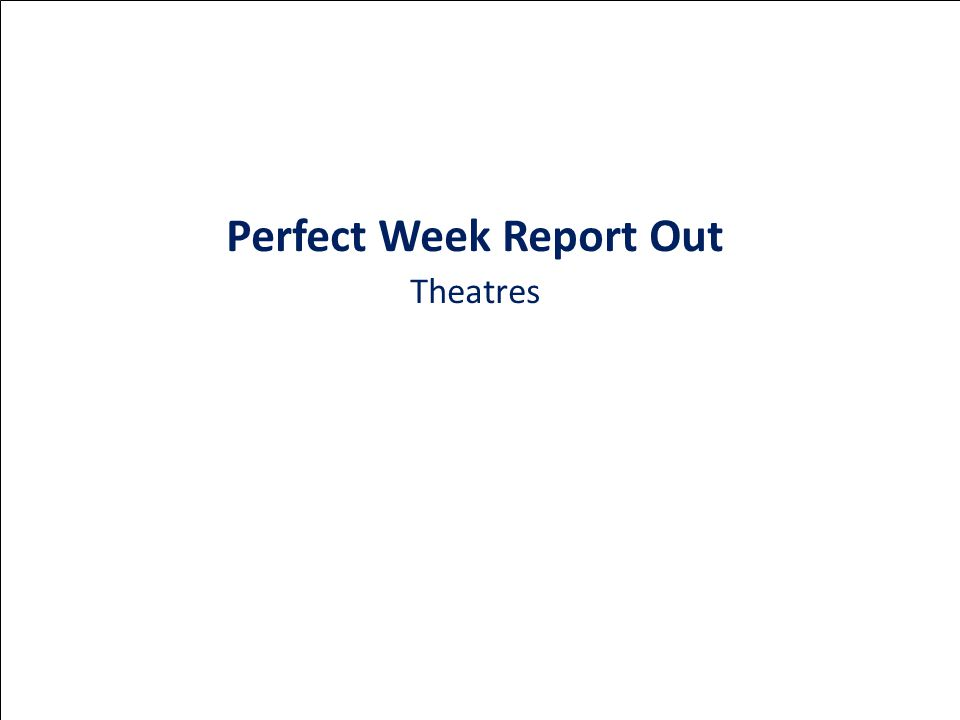Perfect Week Report Out Theatres