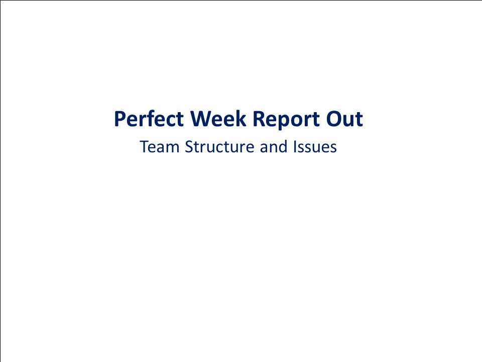 Perfect Week Report Out Team Structure and Issues