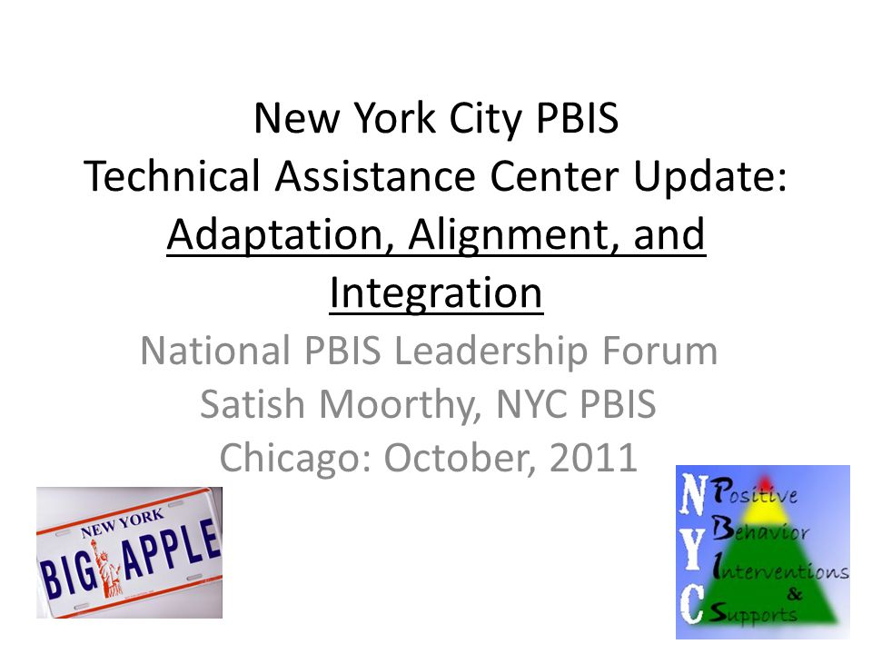 Four Areas for NYC PBIS Integration 1) Response to Intervention and Universal Design for Learning (FAPE and Common Core) IDEA 2) Systems of Care and Wraparound Social Services – Safe and Drug Free Schools 3) Culturally Responsive Positive Behavioral Support Systems – Civil Rights Act 4) Bully Prevention and Safe Schools – ESEA, Safe and Drug Free Schools