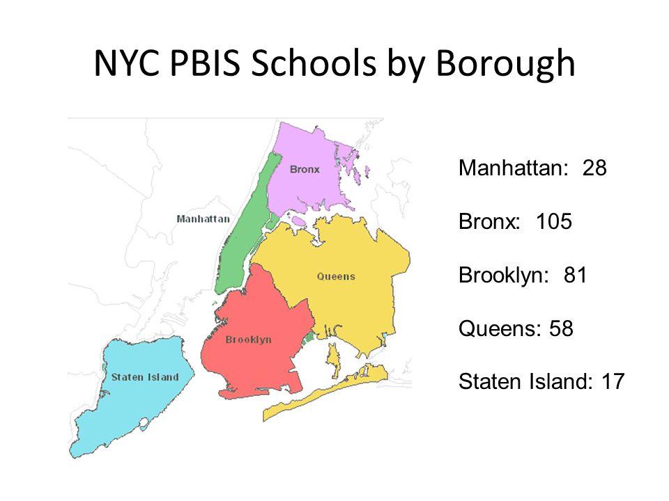 NYC PBIS Schools by Borough Manhattan: 28 Bronx: 105 Brooklyn: 81 Queens: 58 Staten Island: 17