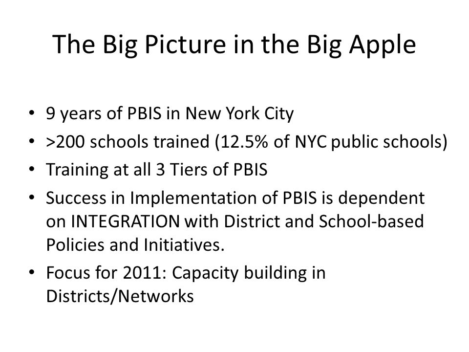 Big 5 PBIS Commitments for Student Achievement (at school, city, state levels) Commitment to Coordinated (Cross- Functional) Teams Commitment to Capacity-Building Commitment to Sustainability Commitment to Policy Alignment and Coherence (INTEGRATION) Commitment to Ongoing Progress Monitoring (FIDELITY)