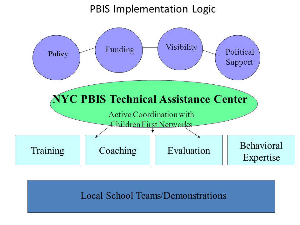 NYC PBIS Technical Assistance Center Funding Visibility Political Support TrainingCoachingEvaluation Active Coordination with Children First Networks