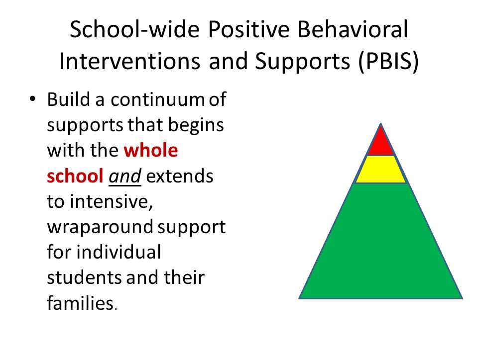School-wide Positive Behavioral Interventions and Supports (PBIS) Build a continuum of supports that begins with the whole school and extends to inten