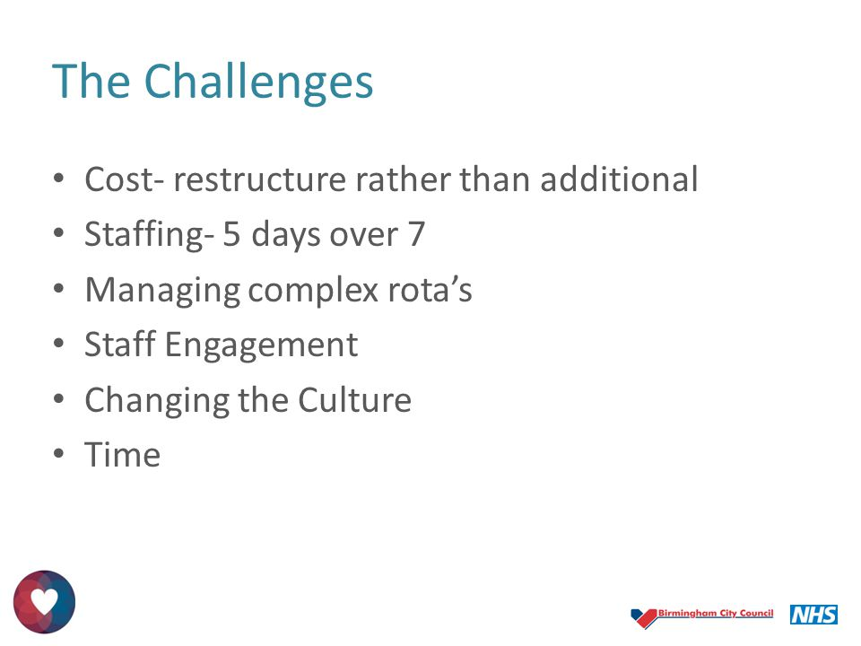 The Challenges Cost- restructure rather than additional Staffing- 5 days over 7 Managing complex rota's Staff Engagement Changing the Culture Time