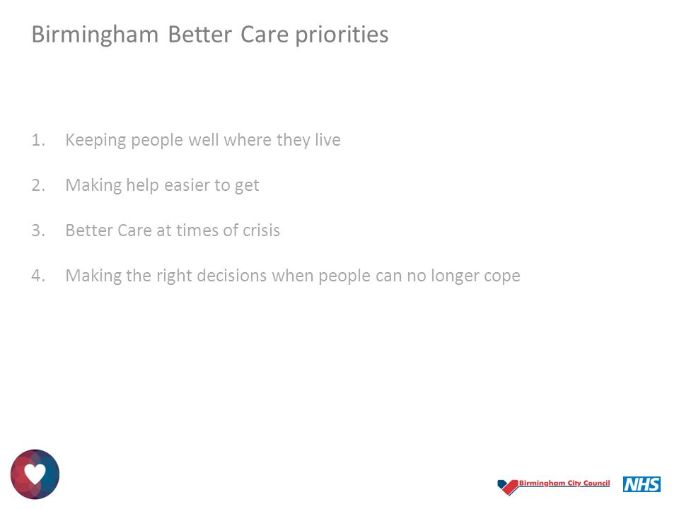 Birmingham Better Care priorities 1.Keeping people well where they live 2.Making help easier to get 3.Better Care at times of crisis 4.Making the righ