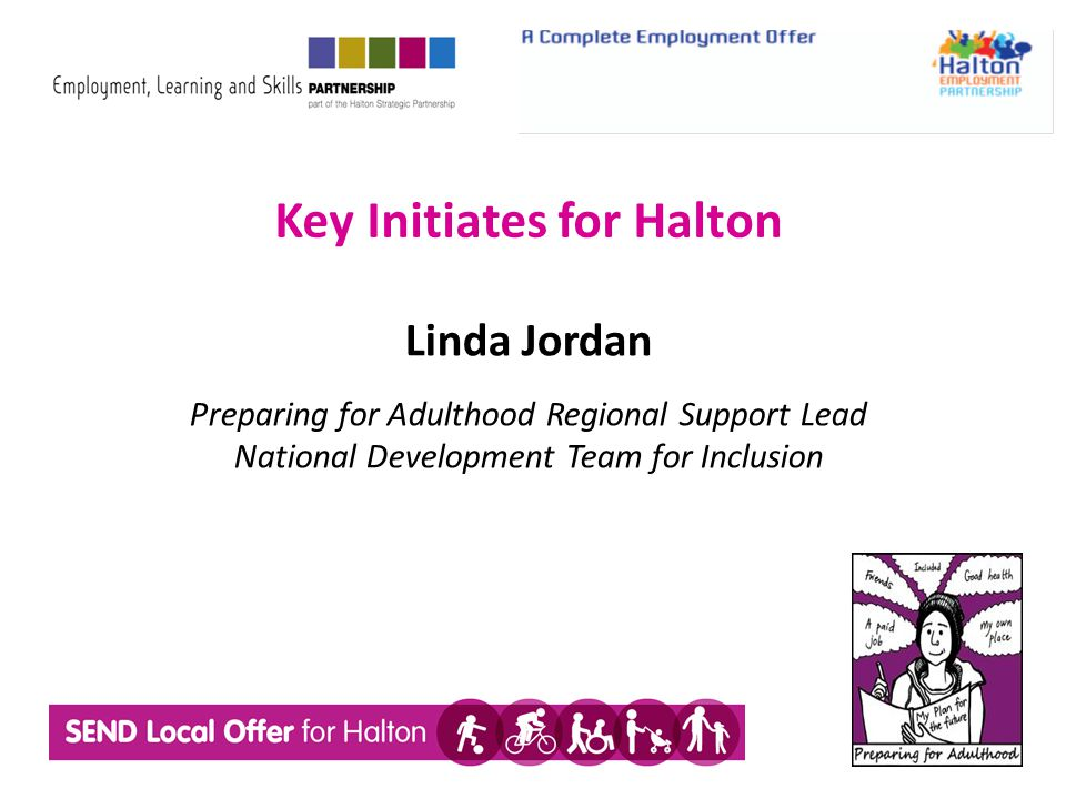 Key Initiates for Halton Linda Jordan Preparing for Adulthood Regional Support Lead National Development Team for Inclusion