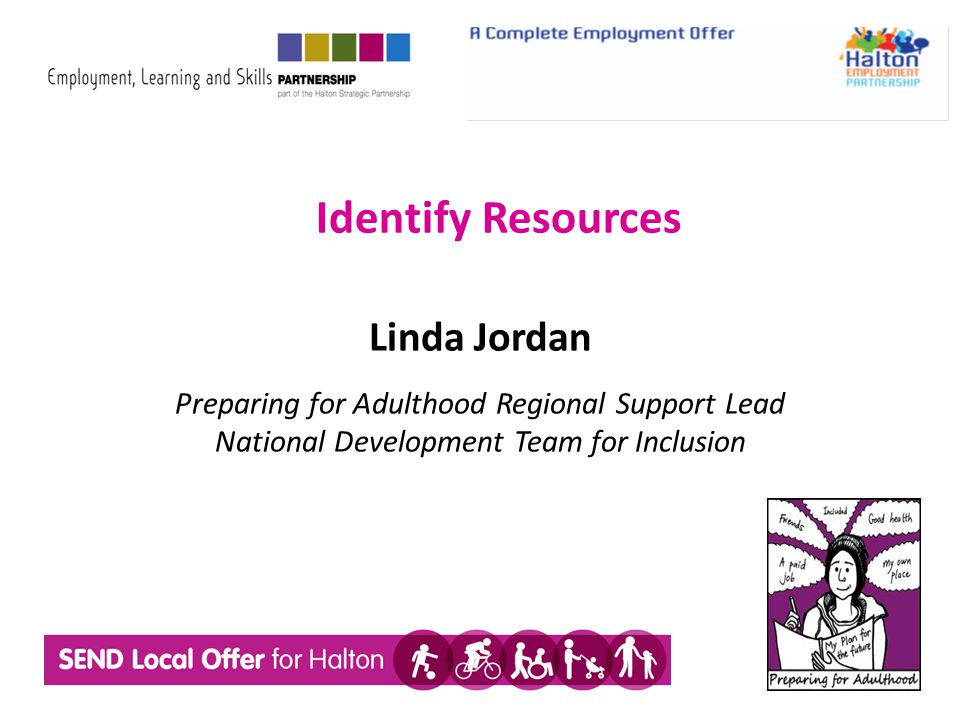Identify Resources Linda Jordan Preparing for Adulthood Regional Support Lead National Development Team for Inclusion